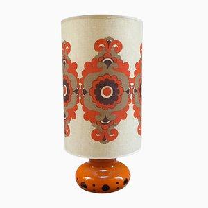 Lámpara de mesa francesa con flor de cerámica, años 70