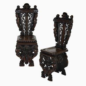 Italienische Geschnitzte Stühle, 1830er, 2er Set