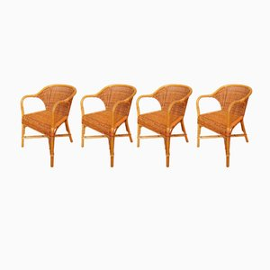 Vintage Italian Wicker Wingback Chairs by Gae Aulenti for Abaco, Set of 4