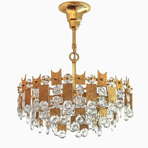 Brutalist Chandelier in Gilded Brass and Crystal Glass from Palwa Palme & Walter, 1970s