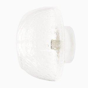 Lámpara de pared de vidrio claro y cromo, años 60