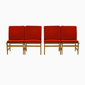 Modell 3232 Stühle von Børge Mogensen für Fredericia, 1960er, 4er Set