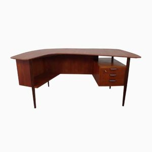 Freeform Teak Desk by Hans Hartl for WK Möbel, 1950s