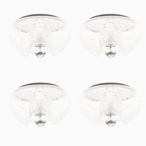 Große Vintage Wave Glas Wandlampen von Koch & Loewy für Peill & Putzler, 4er Set
