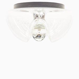 Aplique Wave vintage pequeño de vidrio transparente de Koch & Loewy para Peill & Putzler