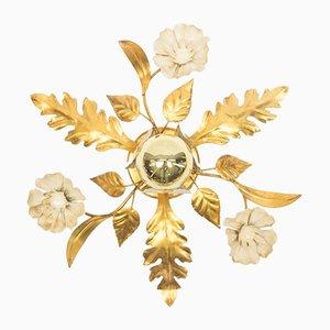 Vintage French Hollywood Regency Gold Leaf Lamp
