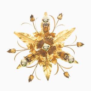 Hollywood Regency Gold Leaf Lamp, 1960s