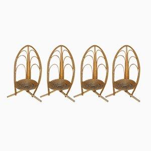 Sillas de jardín Mid-Century de ratán, años 60. Juego de 4