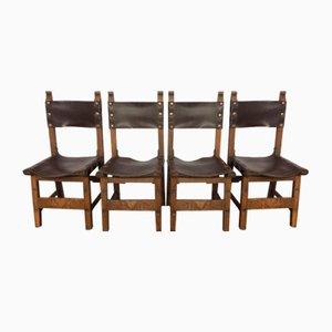 Stühle aus Eichenholz mit Ledersitzen, 1920er