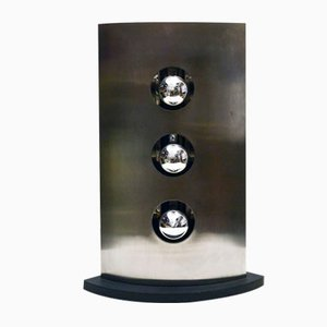 Lámpara de mesa de acero satinado con 3 luces de Reggiani, años 70