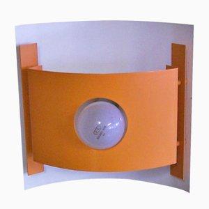 Lámpara de pared vintage de metal naranja y blanco, años 70