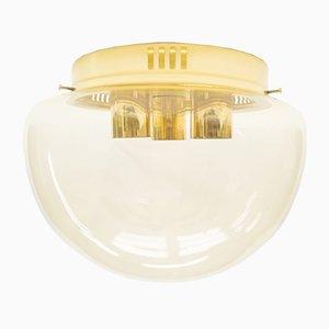 Lámpara grande de vidrio ámbar, años 60