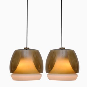 Mid-Century Glas Deckenlampen, 1950er, 2er Set