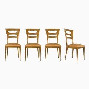Italian Sculptural Dining Chairs, 1940s, Set of 4