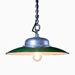 Vintage Fabrik- Deckenlampe in Grün