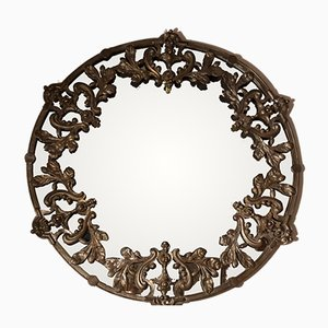 Vintage British Round Metal and Brass Mirror, 1960s