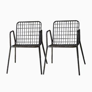 Vintage Metal Mesh Chairs, Set of 2