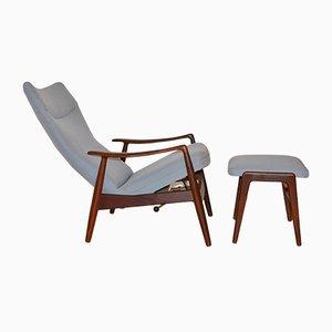 Sillón reclinable vintage de teca con otomana de Alf Svensson para Fritz Hansen