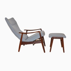 Vintage Teak Reclining Lounge Chair & Ottoman by Alf Svensson for Fritz Hansen