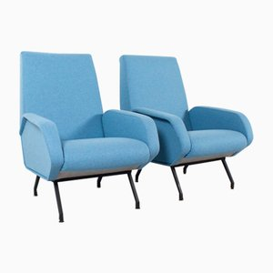 Mid-Century Italian Lounge Chairs in Light Blue Wool
