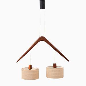 Lampada Pendulum Mid-Century in teak, Francia, anni '50