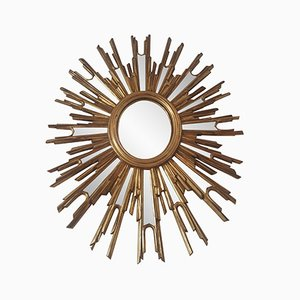 French Large Sunburst Mirror, 1970s