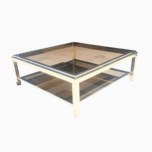 Brass and Chrome Coffee Table by Jean Charles, 1972