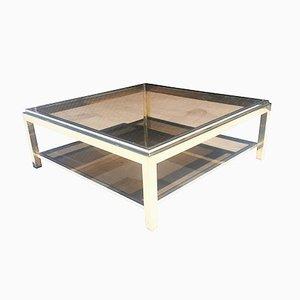 Mesa de centro de latón y cromado de Jean Charles, 1972
