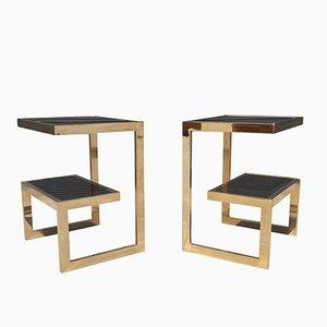 Tavolino con struttura placcata in oro a 23 carati di Belgo Chrom, anni '70, set di 2