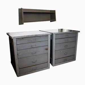 Juego de muebles y estante para herramientas vintage en gris