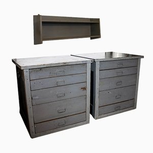 Vintage Gray Tool Cabinets & Shelf