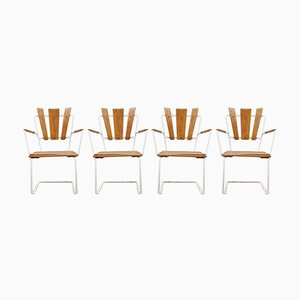 Vintage Scandinavian Iron & Wooden Garden Armchairs, Set of 4