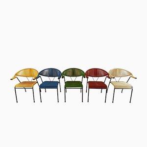 Poltrone vintage colorate, anni '60, set di 5