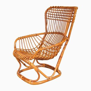 Italian Rattan Lounge Chair by Tito Agnoli, 1960s