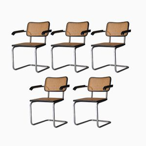 Italian Cesca-B64 Chairs by Marcel Breuer for Gavina, 1962, Set of 5