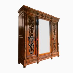Antique Baroque Italian Carved Walnut Wardrobe, 1850s
