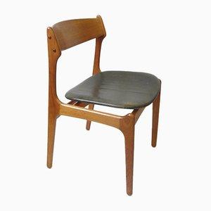 Chaise de Salon Vintage en Teck avec du Vrai Cuir par Erik Buch pour O.D. Møbler, 1957