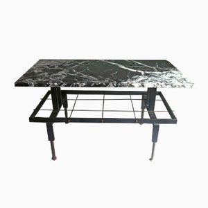 Mid-Century Spanish Iron and Marble Coffee Table & Magazine Rack, 1950s
