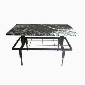 Tavolino da caffè Mid-Century in ferro e marmo con portariviste, Spagna, anni '50