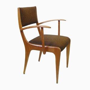 Vintage Armlehnstuhl aus Kirschholz & Wolle von Johannes Krahn für Casala