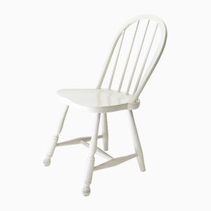 Vintage Austrian White Spindle-Back Chair from Thonet