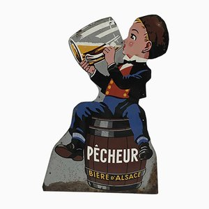 Vintage Beer Advertising Sign from Alsace Pécheur