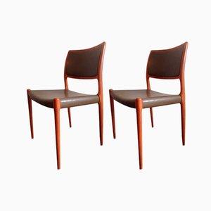 Mid-Century Model 80 Chairs by Niels O. Møller for J.L. Møllers, Set of 2