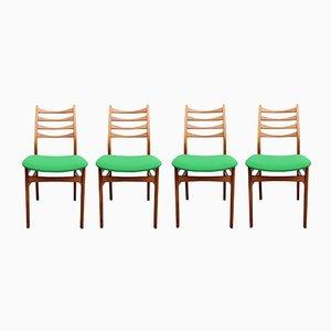 Stühle mit Grünen Bezügen, 1950er, 4er Set