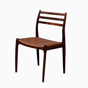 Modell 78 Stühle aus Palisander & Braunem Leder von Niels Møller für J.L. Møllers, 1960er
