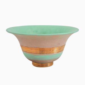 Vergoldete und Handbemalte Art Deco Keramik Schale von Gio Ponti für Richard Ginori, 1930er