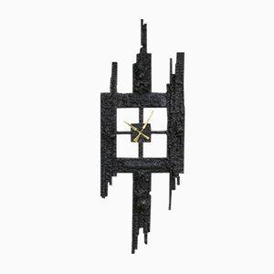 Brutalistische Gusseisen Uhr, 1960er