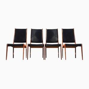 Dänische Palisander & Leder vintage Esszimmerstühle von Johannes Andersen für Mogens Kold, 1960er, 4er Set