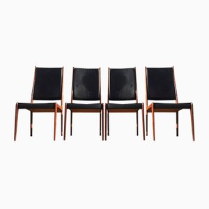 Vintage Danish Rosewood & Leather Dining Chairs by Johannes Andersen for Mogens Kold, 1960s, Set of 4