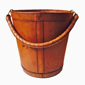 Danish Tanned Leather & Brass Trash Bin from Illums Bolighus, 1950s